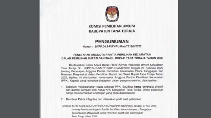 Resmi, Lihat Disini Daftar 95 Nama Anggota PPK Kabupaten Tana Toraja Sudah  KPU Umumkan