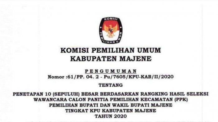 KPU Majene Umumkan Hasil Seleksi Penerimaan PPK, Ini Nama-nama yang Lulus