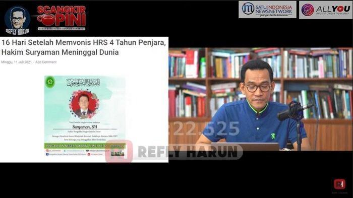 Refly Harun Kembali Bahas Vonis HRS Setara Koruptor Jaksa Pinangki Pasca Hakim Suryaman Meninggal
