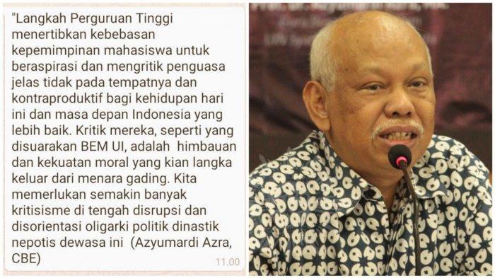 BEM UI Gelari Jokowi The King of Lip Service Prof Azyumardi Azra: Kita Memerlukan Banyak Kritisisme