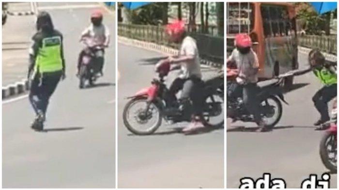 Viral Video Polantas Wanita Tahan Pengemudi Motor Hampir Jatuh karena Tahan Pelanggar Lalu Lintas
