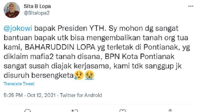 Sita Baharuddin Lopa Lapor ke Presiden Joko Widodo Setelah Tanah Warisan Diserobot di Pontianak
