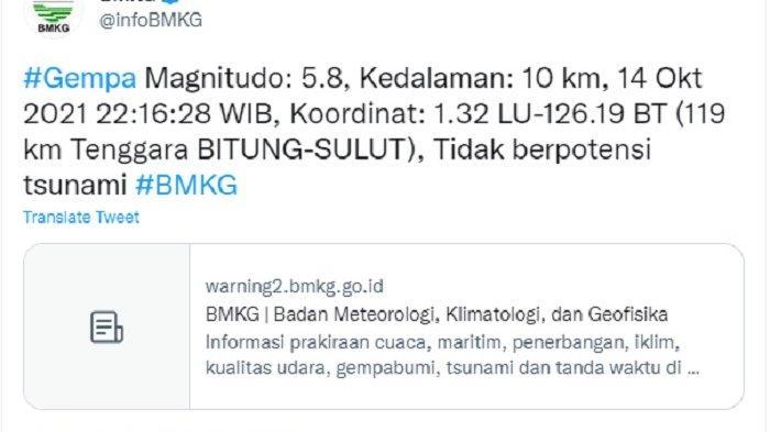 Gempa Bumi Bitung Sulawesi Utara 5,8 SR, Netizen: Terasa Kuat Hingga Manado dan Ternate