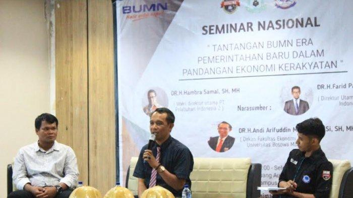 Seminar Nasional Himaksi Unibos, Bahas Tantangan BUMN Persepktif Ekonomi Kerakyatan