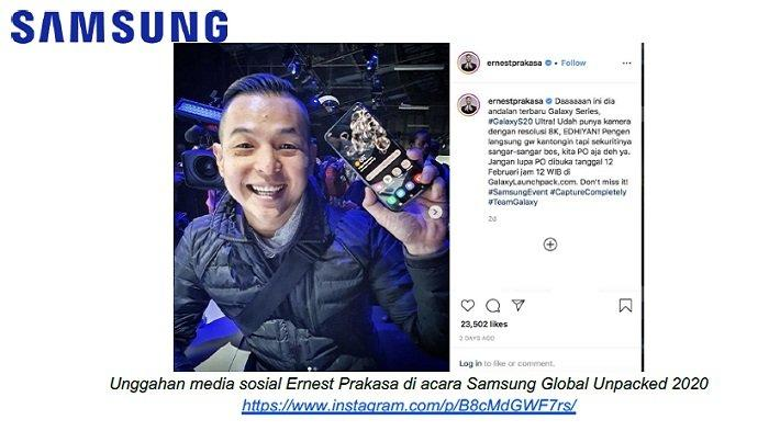 Kepincut Galaxy S20 Series, Ini Postingan Ernest Prakasa di IG-nya