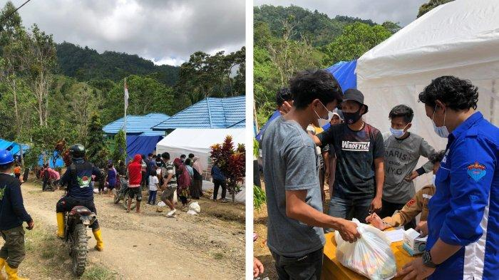 tim relawan kemanusiaan Ikatan Alumni Teknik (Ikatek) Unhas mendistribusi bantuan di Desa Kabiraan, Kecamatan Ulumanda, Kabupaten Majene, Provinsi Sulbar, Sabtu (23/1/2021).