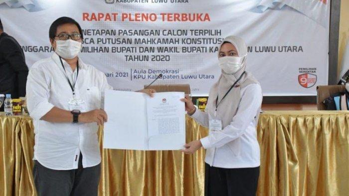 KPU Luwu Utara Tetapkan Indah-Suaib Pemenang Pilkada