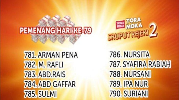 Selamat! Ini 10 Pemenang Undian Sruput Rejeki Toramoka Makassar 2020 Selasa 31 Maret 2020
