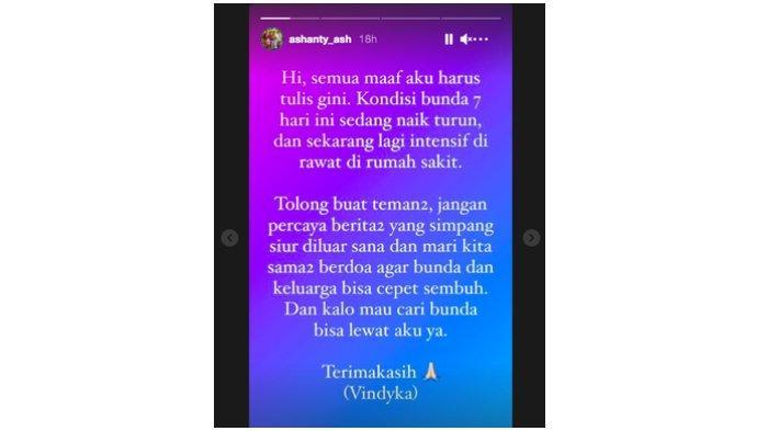 Tangkapan layar unggahan Instagram Story asisten Ashanty yang mengabarkan kondisi terkini istri Anang Hermansyah tersebut.