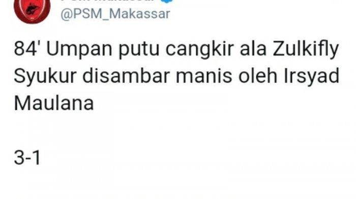 Hanya 9 Pemain, Irsyad Maulana Tambah Keunggulan PSM 3-1