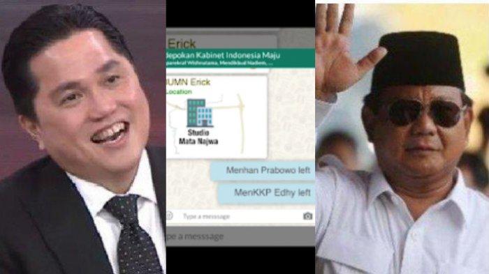 Isi Chat Grup WhatsApp Menteri Jokowi Bocor, Prabowo 'Left Group' Ditantang Erick ke Mata Najwa