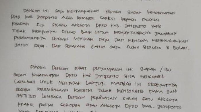 Isi surat yang masuk ke Badan Kehormatan DPRD Jeneponto, Rabu (14/4/2021).