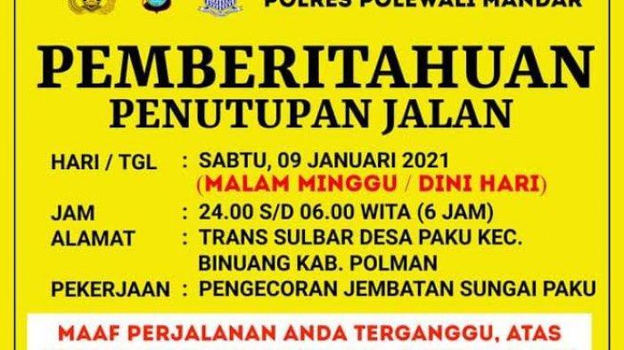 Malam Ini Jalan Trans Sulawesi di Desa Paku Polman Kembali Ditutup, Pengendara Diminta Ikuti Rambu