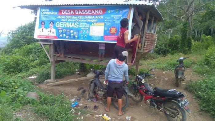 Cegah Corona, Jalur Keluar Masuk Desa Basseang Pinrang Ditutup