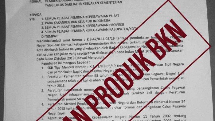 Jelang Pendaftaran CPNS 2019 dan PPPK 2019, Beredar Lagi Surat Palsu Atas Namakan BKN, Waspada!