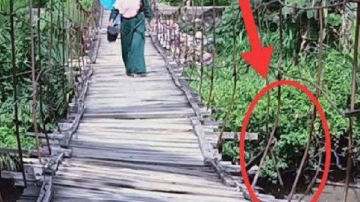 Membahayakan Warga, Jembatan Gantung Penghubung Pakkasalo-Mallusetasi Miring 45 Derajat