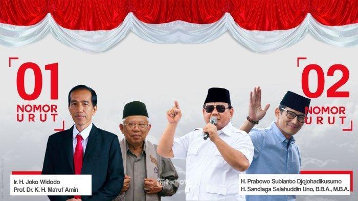 Pasangan Jokowi - KH Maruf Amin dan Prabowo Subianto - Sandiaga Uno.