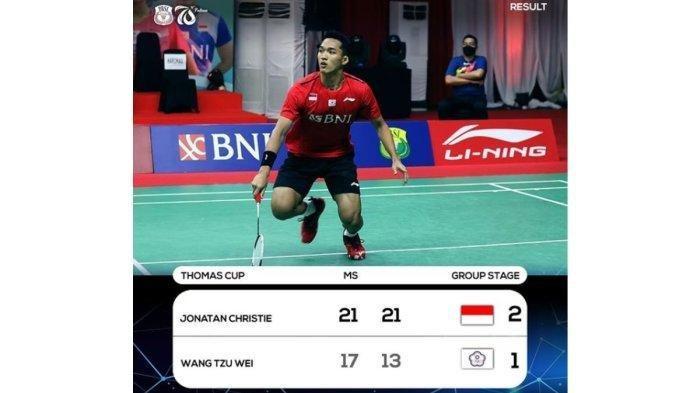 HASIL Penyisihan Grup A Piala Thomas 2020 Indonesia vs Taiwan
