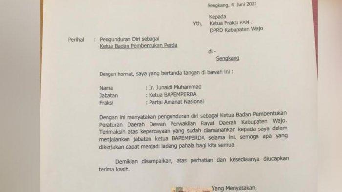 Politisi PAN Junaidi Muhammad Mundur Sebagai Ketua Bapemperda DPRD Wajo, Ada Apa?