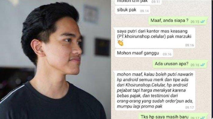 Isi Chat WhatsApp (WA) Wanita Ngaku Suruhan Kaesang Jual HP Pejabat, Marzuki Alie Lapor Polisi