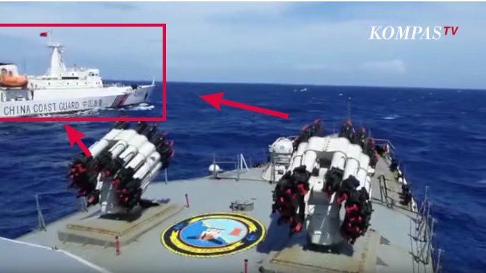 Video Detik-detik Kapal Perang Indonesia KRI Tjiptadi Usir Kapal China di Natuna, Kawal Pencuri Ikan