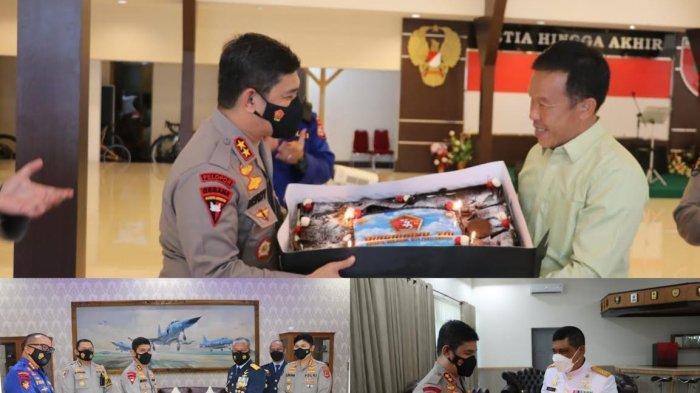 HUT ke-76 TNI, Kapolda Bawa Kue Ulang Tahun ke Tiga Pucuk Pimpinan TNI di Sulsel