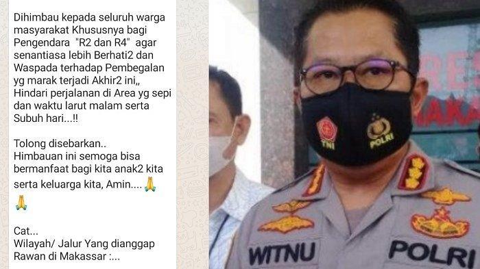 Beredar Pesan Berantai Lokasi Rawan Begal, Kapolrestabes Makassar: Hoaks!