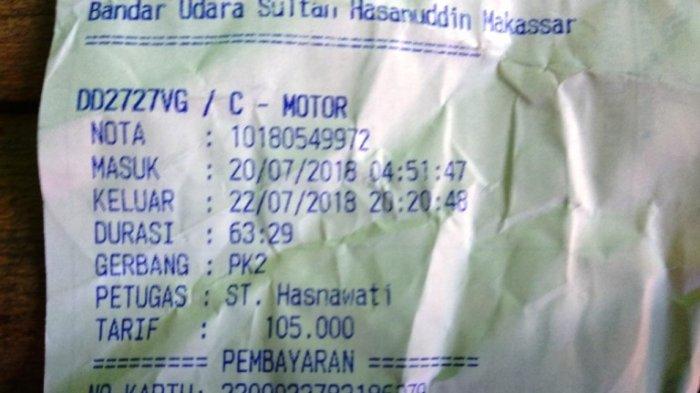 Parkir di Bandara Makassar Termahal di Indonesia; 4,9 Menit Bayar Rp 6000 - karcis_bandara_20180815_045808.jpg