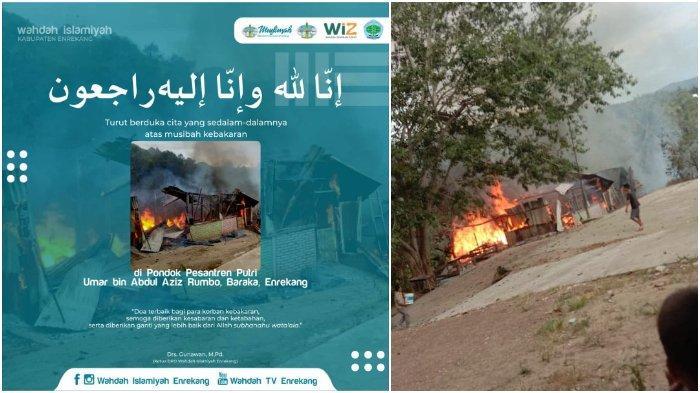 BREAKING NEWS: Asrama Pondok Pesantren Umar bin Abdul Aziz Rumbo di Baraka Enrekang Terbakar