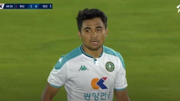 Penampilan Asnawi Mangkualam dalam laga Busan IPark Vs Ansan Greeners di Gudeok Stadium, Busan, dalam laga pekan ke-21 K-League 2, Sabtu (17/7/2021).