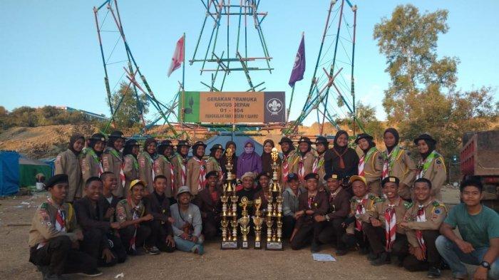 Putra-putri SMKN 1 Barru Raih Juara Umum Liga Pramuka di Bukit Perkemahan Lajulo