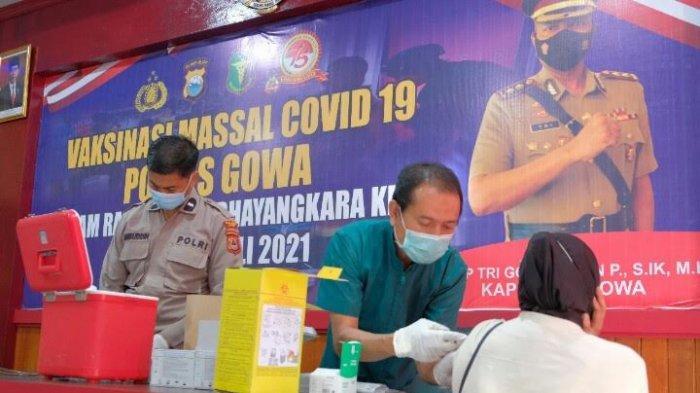 Dua Hari, Polres Gowa Target Seribu Orang Lakukan Vaksin