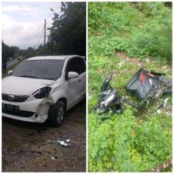 Gara-gara Jalan Berlubang, Mobil Tabrak Motor di Bone