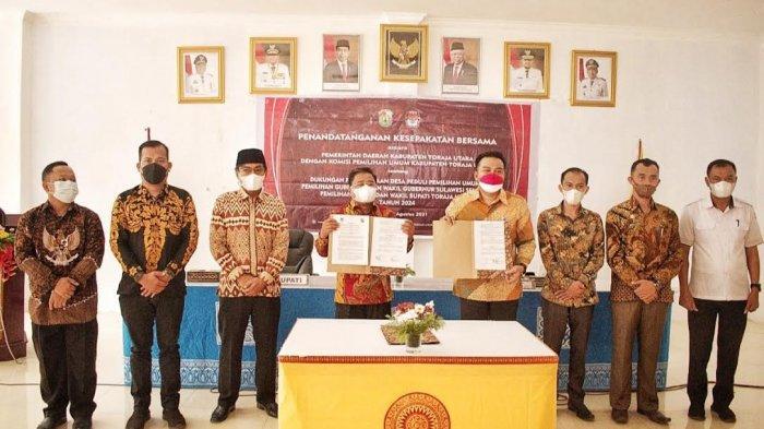 KPU dan Pemkab Toraja Utara MoU Desa Peduli Pemilu dan Pemilihan
