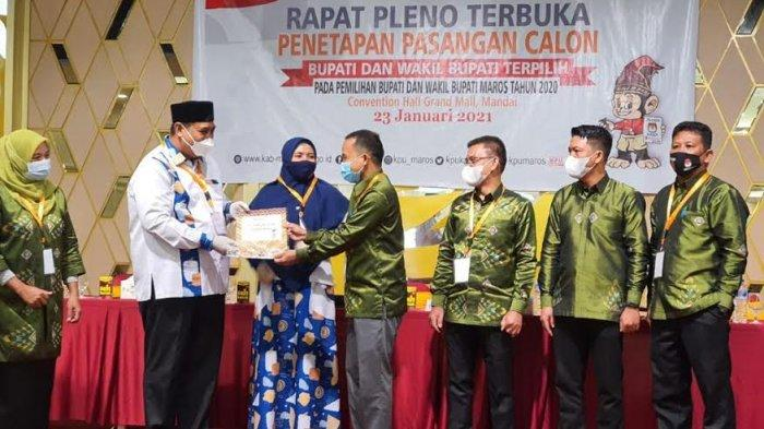 FOTO:  KPU Maros Tetapkan Chaidir Syam-Suhartina Bohari Pemenang Pilkada 2020