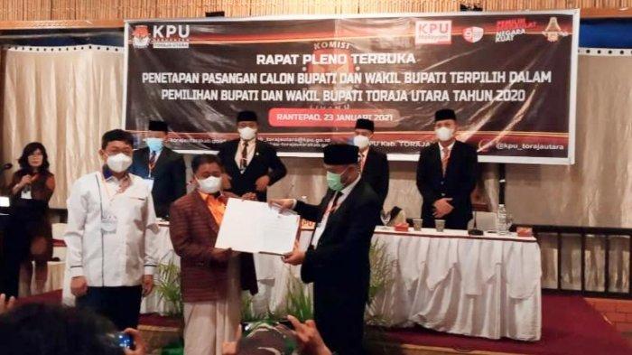 Resmi, KPU Tetapkan Ombas-Dedy Bupati dan Wabup Terpilih Toraja Utara