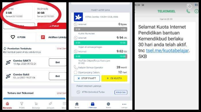 Kuota Gratis Bantuan Nadiem Makarim Sudah Cair Ini Cara Cek Kuota Telkomsel Xl Indosat Tri Axis Tribun Timur