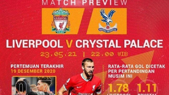 Laga Pamungkas Liverpool vs Crystal Palace, Skenario The Reds Rebut Tiket Liga Champions