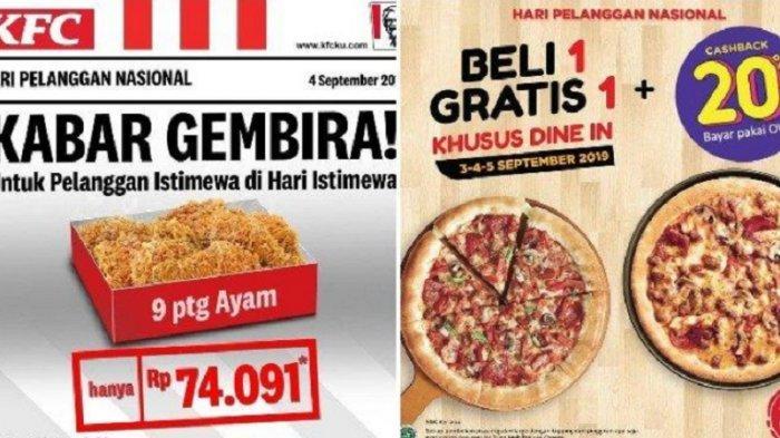 LENGKAP Daftar Promo Hari Pelanggan Nasional Rabu 4 September 2019: Telkomsel, KFC & Pizza Hut