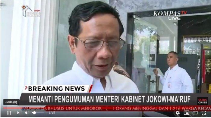 Link Live Streaming Kompas TV Pengumuman Menteri Kabinet Kerja Jokowi-Maruf, 5 Tokoh Sudah Hadir