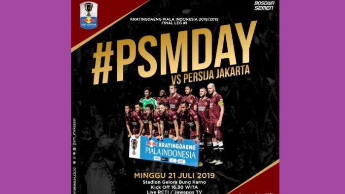 Link Live Streaming Metube RCTI Persija vs PSM Makassar Final Leg 1 Piala Indonesia, Saling Serang!