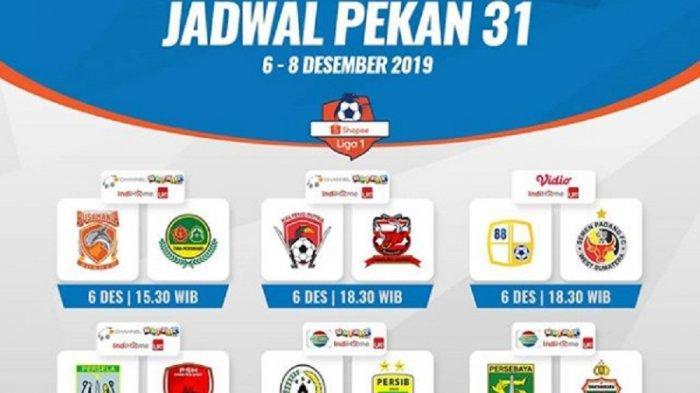 Live Indosiar, Jadwal Siaran Langsung Liga 1 2019 Pekan 31, PSS vs Persib, Persebaya vs Bhayangkara