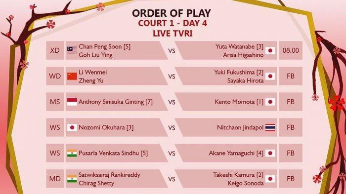 LIVE STREAMING dan Jadwal Main 8 Wakil Indonesia di Perempat Final Japan Open 2019, Mulai 08.10 WIB