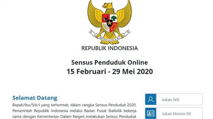 LOGIN sensus.bps.go.id Cara Isi Sensus Penduduk Online 2020, NIK dan KK Harus Valid, Besok Terakhir