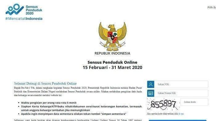 LOGIN sensus.bps.go.id Cara Isi Sensus Penduduk Online 2020 NIK Harus Valid,3 Dokumen,Besok Terakhir