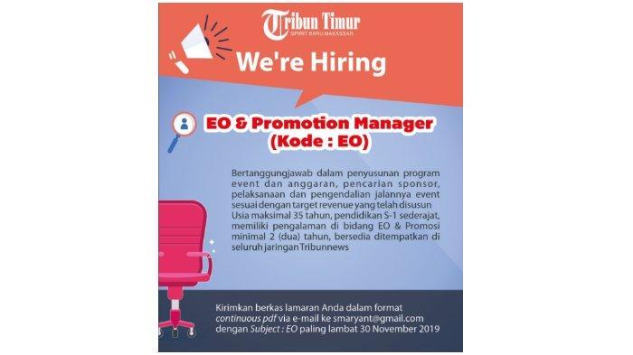 Lowongan Kerja EO and Promotion Manager Tribun Timur