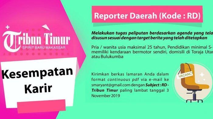 Lowongan Kerja Reporter Daerah Tribun Timur, Buka hingga 3 November