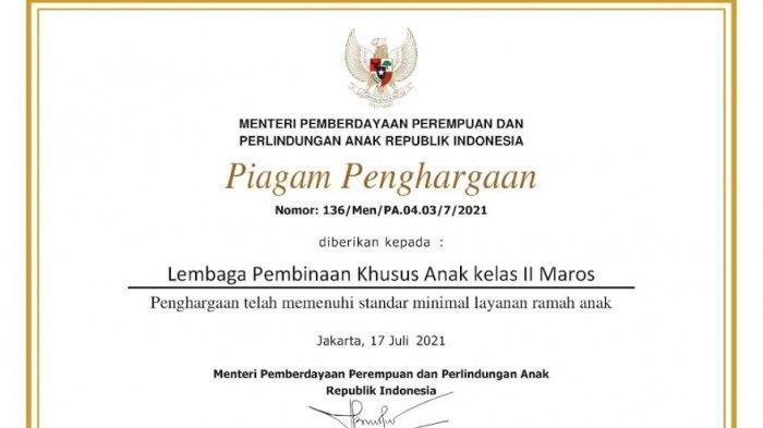 LPKA Maros Dapat Penghargaan dari Menteri Bintang