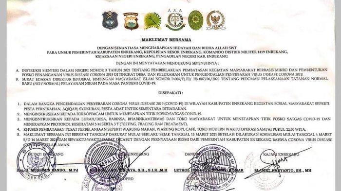 Pembatasan Kegiatan Masyarakat di Enrekang Mulai Diberlakukan 15 Maret, Apa Saja Dilarang?