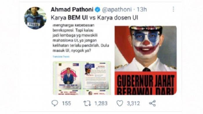 WA BEM UI Dihack, Netizen Bandingkan Jokowi King of Lip Service & Meme Anies Joker dari Dosen UI
